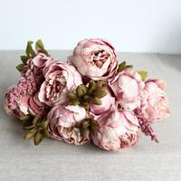 ingrosso rosa peonies matrimonio-Peonia Rosa Viola Decorativo Fiore Artificiale Matrimonio Casa Soggiorno Restauro Antichi Modi Moda Semplice Fiori Finti 16 5xlD1