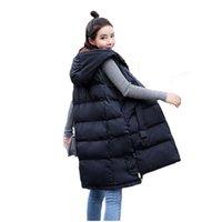 frauen weiße winterwesten großhandel-Korean Herbst Winter Weste Weste Frauen 2019 weibliche ärmellose Jacke Kapuze warme lange Weste Jacke schwarz / weiß S-3XL f044