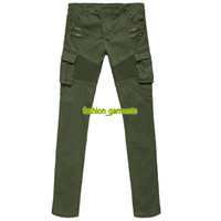 Wholesale designer trousers men for sale - Fashion Mens Trousers High Quality Mens Trend Pleated Stretch Jeans Men Designer Jeans Multi pocket Stretch Self cultivation Overalls