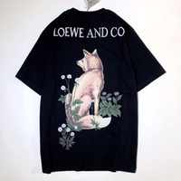 ingrosso donne della camicia volpe-18SS LOEWE Estate T-shirt da donna Star Models Joint Flower 3D Fox Foto Stampa Fashion Girl TEE