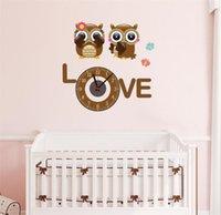 baykuş oda dekoru toptan satış-Çocuk odası Duvar Dilsiz Duvar Saati Sevimli Renkli Karikatür Baykuş Saat Çerçevesiz Sessiz Odası Ev Dekor A2170c