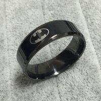 anillos geniales para chicas al por mayor-Cool boys girls 8mm 316L acero inoxidable negro logo de batman anillos para hombres mujeres de alta calidad EE. UU. Tamaño 6-14