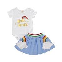 gökkuşağı bebek kıyafetleri toptan satış-Ins gökkuşağı yenidoğan kıyafetler bebek elbise yenidoğan bebek kız giysileri suits Yaz romper + etek 2 adet / takım bebek bebek kız giysi tasarımcısı A6047