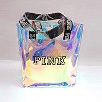 ingrosso negozio laser-Rosa lettera Borsa laser trasparente Sacchetti di spalla di moda studente borsa shopping colorazione