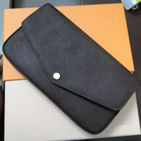 pakete großhandel-Original Echt Echtes Leder Mode Kette Umhängetasche Handtasche Presbyopic Mini Paket Umhängetasche Handy Kartenhalter Geldbörse 61276 Felicie