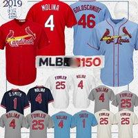 camisa paul venda por atacado-Camisa St. Louis Cardinal 46 Paul Goldschmidt jerseys 1 Ozzie Smith 4 Yadier Molina 25 Dexter Fowler Jerseys camisas 150º beisebol