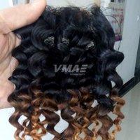 renk 27 kıvırcık toptan satış-8a Renk 1b 4 27 Brezilyalı frontal dantel Saç Ombre Kinky Kıvırcık Kapatma Ombre 3 Ton Derin Culry İnsan Saç Ücretsiz Bölüm Dantel Kapatma