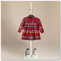 Wholesale chinese branded baby clothes for sale - Group buy Autumn new girls dresses kids rainbow stripe princess dress children plaid lapel falbala sleeve pleated dress brand baby girl clothes P0080