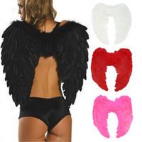 les anges s'habillent achat en gros de-1 Pc 4 Couleurs Adulte Ange Ailes Dress Up Up Ange Plume Fée Costume Halloween Cosplay Nuit Fantaisie Aile De Noël Fournitures