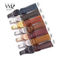 bracelets de montres en cuir vintage achat en gros de-CARLYWET Gros 22mm Vintage BLEU Couleur Véritable Cuir Remplacement Bracelet de Montre-Bracelet Sangle Ceinture Boucles Bande Bracelets