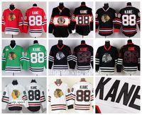 ingrosso blackhawks jersey cranio nero-Chicago Blackhawks 88 Patrick Kane Jersey Uomo Winter Classic Skull Black Ice Patrick Kane Maglie da hockey Rosso Bianco Verde