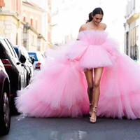 tulle kaftan großhandel-Elegante hallo niedrige Abendkleider 2019 Zug rosa Tüll Bling marokkanischen Kaftan für Mädchen formale Abschlussball Partykleid