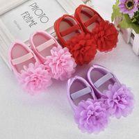 bebek çiçek elastik ayakkabı toptan satış-Toddler Çocuk Bebek Kız Şifon Çiçek Elastik Bant Yenidoğan Yürüyüş Ayakkabıları Bebek Ayakkabıları Toddler Ayakkabı
