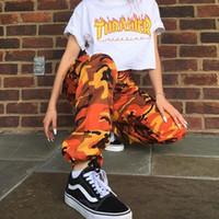 pantalon beige mujer al por mayor-Harajuku Hip Pop Womens Camo Cargo Pantalones Casual Army Combat Camuflaje Pantalones Pantalones de chándal de cintura alta
