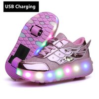 ingrosso una ruota dei bambini-Nuovo One Usb Charging Fashion Girls Boys Led Light Pattini a rotelle per bambini Sneakers per bambini con due ruote MX190726 MX190727