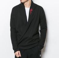 pullover chinesisch groihandel-Große größe Männer Japan Streetwear Mode Lässig Strickjacke Mantel Männlichen Chinesischen Stil Stickerei Pullover Strickjacke Oberbekleidung