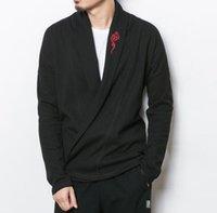 suéter chinês venda por atacado-Tamanho grande Homens Japão Streetwear Moda Casaco Cardigan Casuais Estilo Chinês Masculino Bordado Camisola De Malha Jaqueta Outerwear