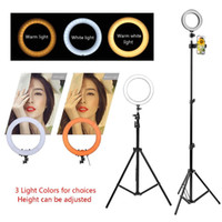 anillo de foto led al por mayor-Maquillaje en vivo Lámpara LED de anillo Lámpara regulable Soporte de soporte Teléfono Foto Selfie Video 12W Luz blanca cálida Ajuste compatible 20-200 mm