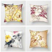 chinesische vogelmalereien großhandel-Fuwatacchi Floral Kissenbezüge Blumen und Vögel Dekokissenbezüge für Heim Sofa Schlafzimmer Chinesische Gemälde Stil Kissenbezüge Kissenbezug