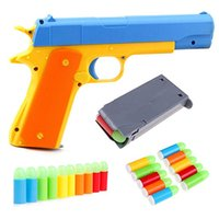 Wholesale soft bullets gun for sale - Group buy Kids Toy Gun Colt Toy Pistol with Colorful Soft Bullets Ejecting Magazine and Pull Back Action Random color oin