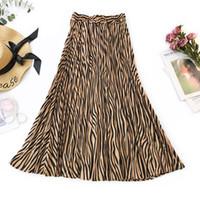 rayas de cebra delgada al por mayor-Estampado de primavera Retro Delgado de cintura alta Mid-calf Falda Mujer Moda Sexy Summer Zebra Stripes Falda Mujer Primavera Negro Blanco