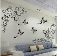 décalcomanies de fleurs noires pour mur achat en gros de-Vigne de fleur noire classique pour autocollant mural décoratif de mur autocollant de mur amovible en pvc