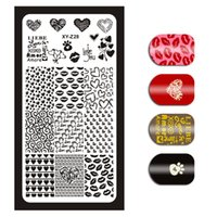 labio al por mayor-1 pieza Sexy Lips Heart Love Patterns Manicure Nail Art Stamp Template Festival Fiesta Imagen Placas Estampación Platos 12 * 6 cm