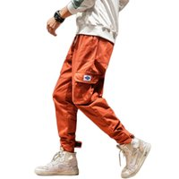 pantalones cargo naranja negro al por mayor-Pantalones de primavera para hombre Pantalones de carga de algodón Sólidos Pantalones de joggers de moda Negro naranja Casual Muchos bolsillos Pantalones con banda de tobillo 5XL 2019