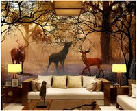 Wholesale fantasy room decor resale online - 3d wallpaper custom photo mural Fantasy forest elk tv background living room home decor d wall murals wallpaper for walls d