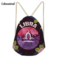 Wholesale plain drawstring shoe bags for sale - Group buy Coloranimal Men Women Daily String Drawstring Bag Travel Beach Casual Backpack Cancer Libra Pisces Vibes Print Yoga Shoes Pouch