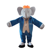traje de elefante azul venda por atacado-Mr. Blue Elephant Mascot Costume Outfits Adult Size Dos Desenhos Animados da mascote do traje Para O Carnaval Festival Vestido Comercial