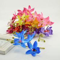 Wholesale blue orchid home decor resale online - 1pcs Artificial Butterfly Orchid Silk Flower for Home Garden Phalaenopsis Bouquet wedding Decor fake simulation flower