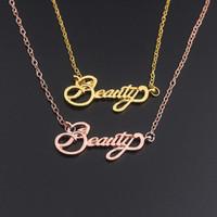 handgemachte personalisierte silberne schmucksachen großhandel-Brief Halskette personalisierte Schönheit Halskette handgemachten Schmuck Weihnachtsgeschenk Silber / Gold Ketten Halsketten