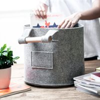 Wholesale sell desktop for sale - Group buy Direct selling simple felt storage basket storage bucket desktop storages blue articles of daily use dirty clothes storage basket EEA91