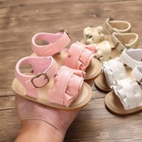 Wholesale white flower girls shoes for sale - Group buy Summer Baby Sandals Fashion Girls Anti Slip Crib Shoes Soft Sole Prewalker Flower Kids Shoes Cute Black Pink White Beach