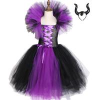 kraliçe kız kostümü toptan satış-Maleficent Evil Kraliçe Kız Tutu Elbise Çocuklar Cadılar Bayramı Elbise Cosplay Cadı Kostümleri Fantezi Kız Parti Elbise Çocuk Giysileri 2-12y J190712