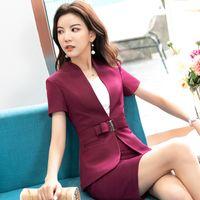 Wholesale women s beige business suit resale online - Summer Wine Red Blazer Suit Women Formal Uniform Designs Trajes De Mujer Elegant Business Office Wear Set with Skirt XL