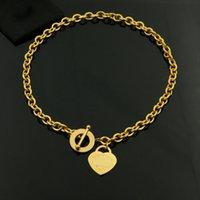 ouro em forma de coração pingente colar venda por atacado-Anel em forma de coração OT fivela buraco grosso titanium aço casal colar 18 K subiu banhado a ouro colar de pingente de Moda de Nova York clássico jóias