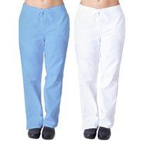 Wholesale plus size nurses uniform resale online - Women Men Nursing Uniform Work Trousers Flat Full Length Pants Solid Color Natural Flare Leg Pants With Pocket Plus Size