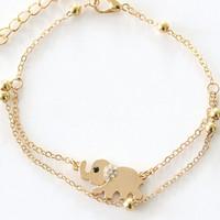 ingrosso braccialetto a catena elefante-Braccialetti multistrato Bracciali Argento dorato Piuma doppia foglie Farfalla Cavigliera Elefante Catena gioielli Elefante Bracciale cavigliera