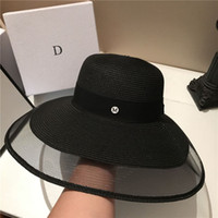 ingrosso cappelli da sole delle donne-Moda larghi del bordo cappelli Hepburn Spiaggia Stile del cappello di estate Pretty Black Cappelli Mesh Donne Sun Protection Tappi per le vacanze Casual Cap