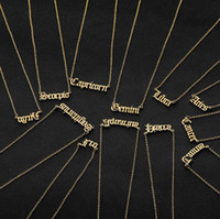 Wholesale jewelry solitaires resale online - Personalized Letter Zodiac Necklace Constellation Necklaces Custom Stainless Steel Old English Necklace Birthday Jewelry Gifts