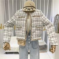 TYHRU Women Buttons Pockets Design Tweed Jackets Tassel Plaid Coats Female Autumn