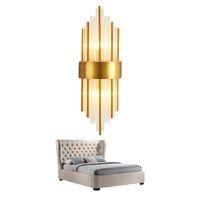 semáforos interiores al por mayor-Lámpara de pared de vidrio transparente moderna lámpara de pared de oro para pasillo de dormitorio Decoración del hogar Accesorio de iluminación Lámpara de pared LED
