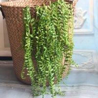 ingrosso piante artificiali da giardino pendenti-Artificiali Succulente Perle Carnose Verde Vite Fiori Appesi Rattan Decorazione del Giardino Decorazione Fiore Amante Lacrime Piante succulente