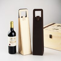 Wholesale wine gift boxes packaging for sale - Group buy Portable PU Leather Red Wine Bottle Packaging Case for Bar Wine Gift Storage Boxes with Handle