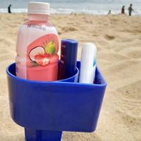 almacenamiento de herramientas al aire libre al por mayor-Ocean Plastic Sand Cup Handles Outdoor Beach Holder Color puro Herramientas de almacenamiento de playa personalizadas PPA418