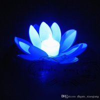 Wholesale white floating lotus flower artificial resale online - Artificial LED Floating Lotus Flower Candle Lamp With Colorful Changed Lights For Wedding Party Decorations Supplies