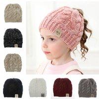 Wholesale flat head babies resale online - Kids Knit Beanie Hats Baby Soft Winter Warm Chunky Cap Fashion Empty Head Winter Ski Hat Xmas Gifts TTA1725