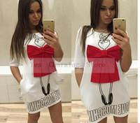 grande taille robe manches chauve-souris achat en gros de-2019 Été De Bande Dessinée Lettre Caractère Imprimer Rouge Arc Dress Casual O-cou Robes À Manches Courtes Robes Mode Lâche Femmes Robe Plus La Taille XL